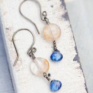 Blue Citrine Earrings Kyanite NEW